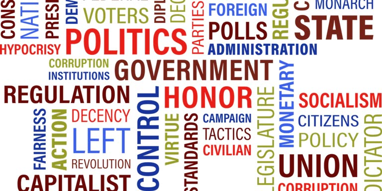 Image of words used in government and political settings